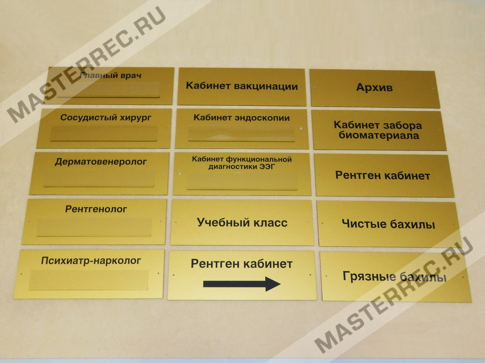 Таблички на двери медицинских кабинетов